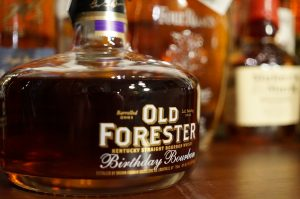 A bottle of Old Forester Birthday Bourbon