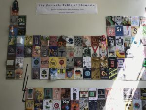 The periodic table of elements, comprised of student depictions of each element, at High Tech High International
