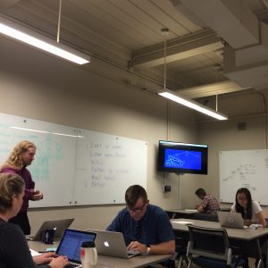 Faculty and staff at the University of Oklahoma working on game-based learning